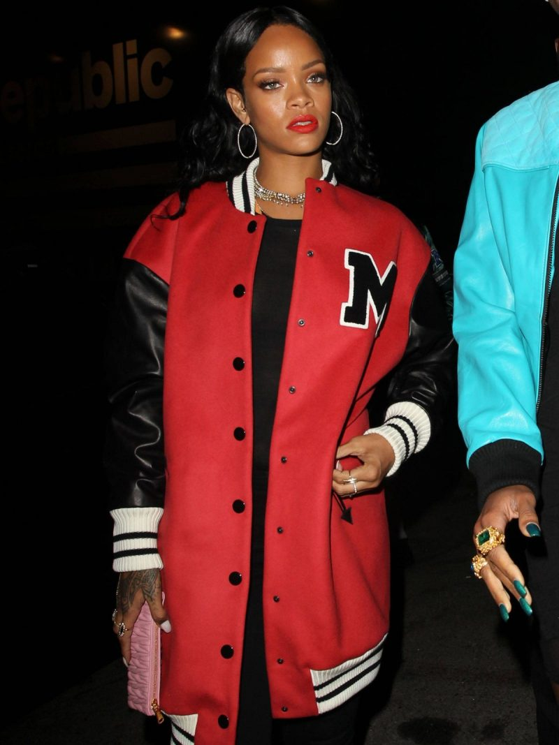 Rihanna at Nightclub Los Angeles Red Varsity Coat,