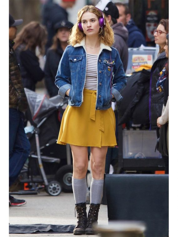 Baby Driver Lily James Blue Jacket