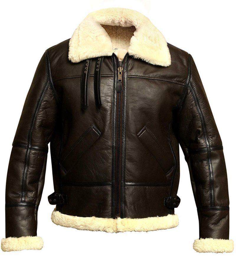 Men B3 Bomber WWII Shearling Sheepskin Leather Jacket