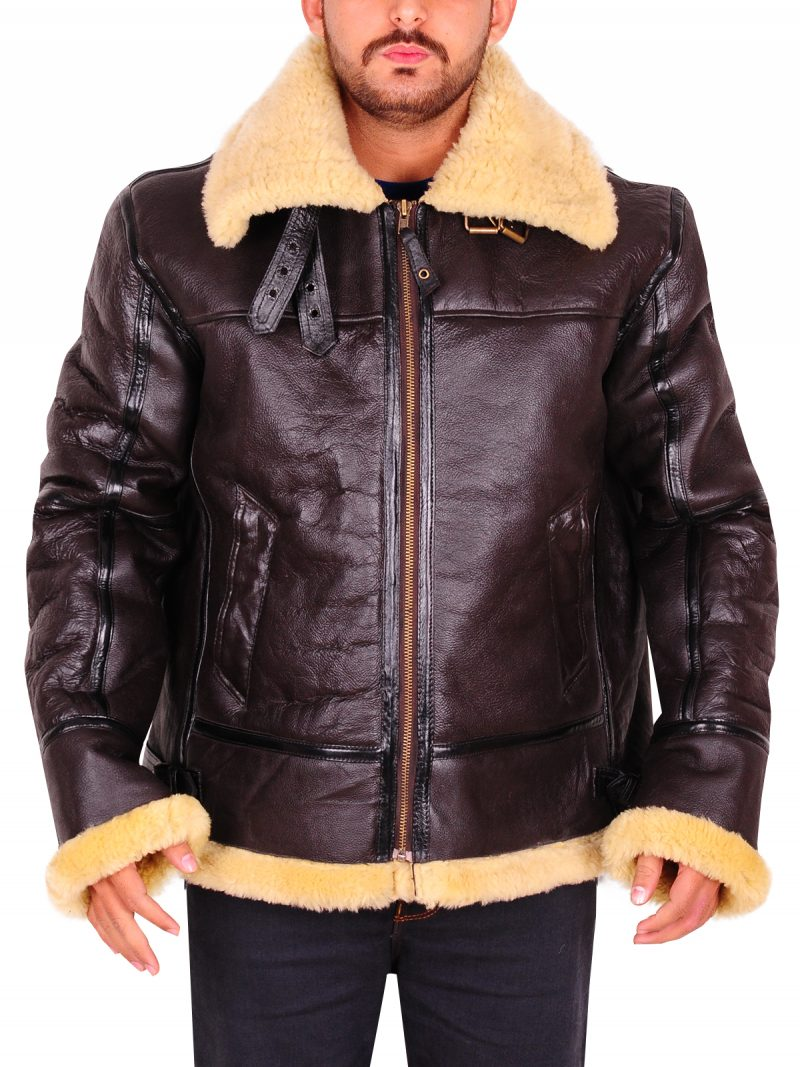 Men B3 Sheepskin Aviator Flying Leather Jacket