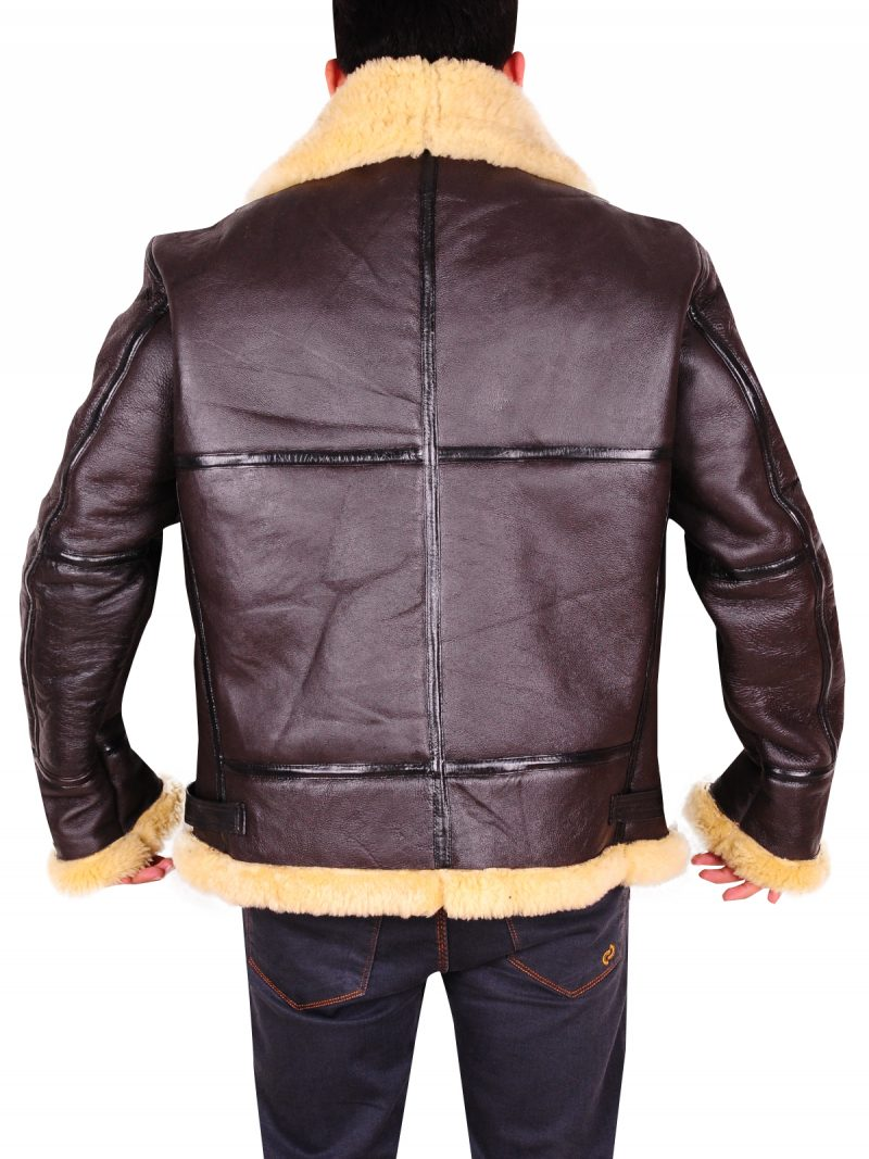 Men Vintage B3 Sheepskin Aviator Flying Jacket