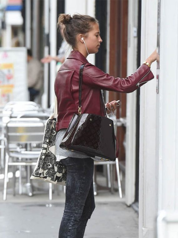 Alicia Vikander Stylish Leather Jacket
