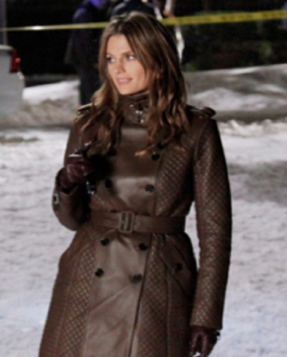 Castle TV Series Kate Beckett Brown Leather Coat,