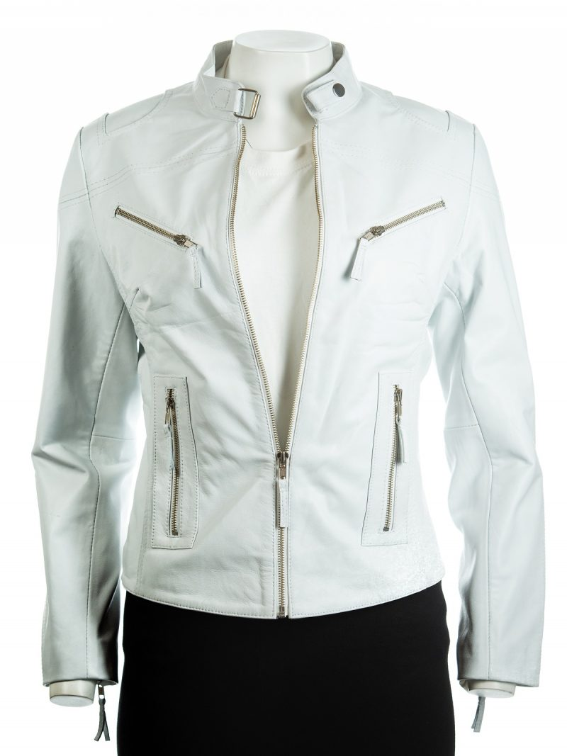 Women Slim fit White Biker Leather Jacket,