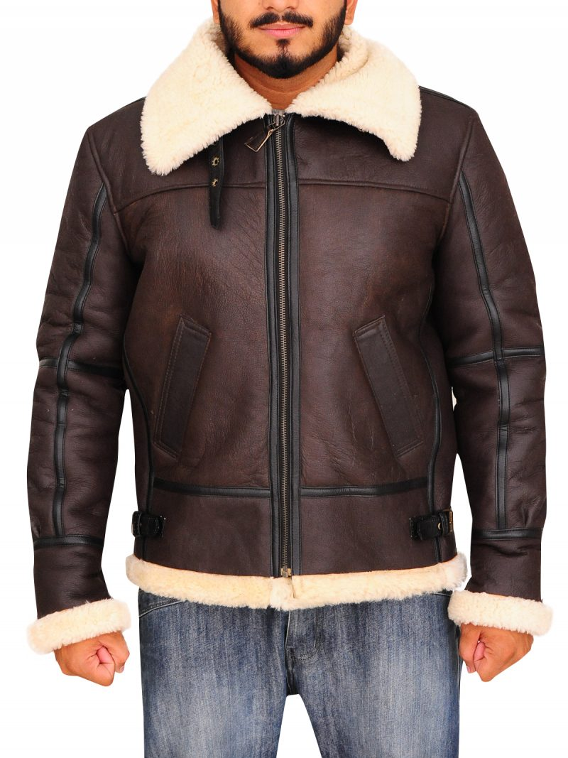 Men's B6 Bomber Shearling Genuine Cowhide Leather Jacket