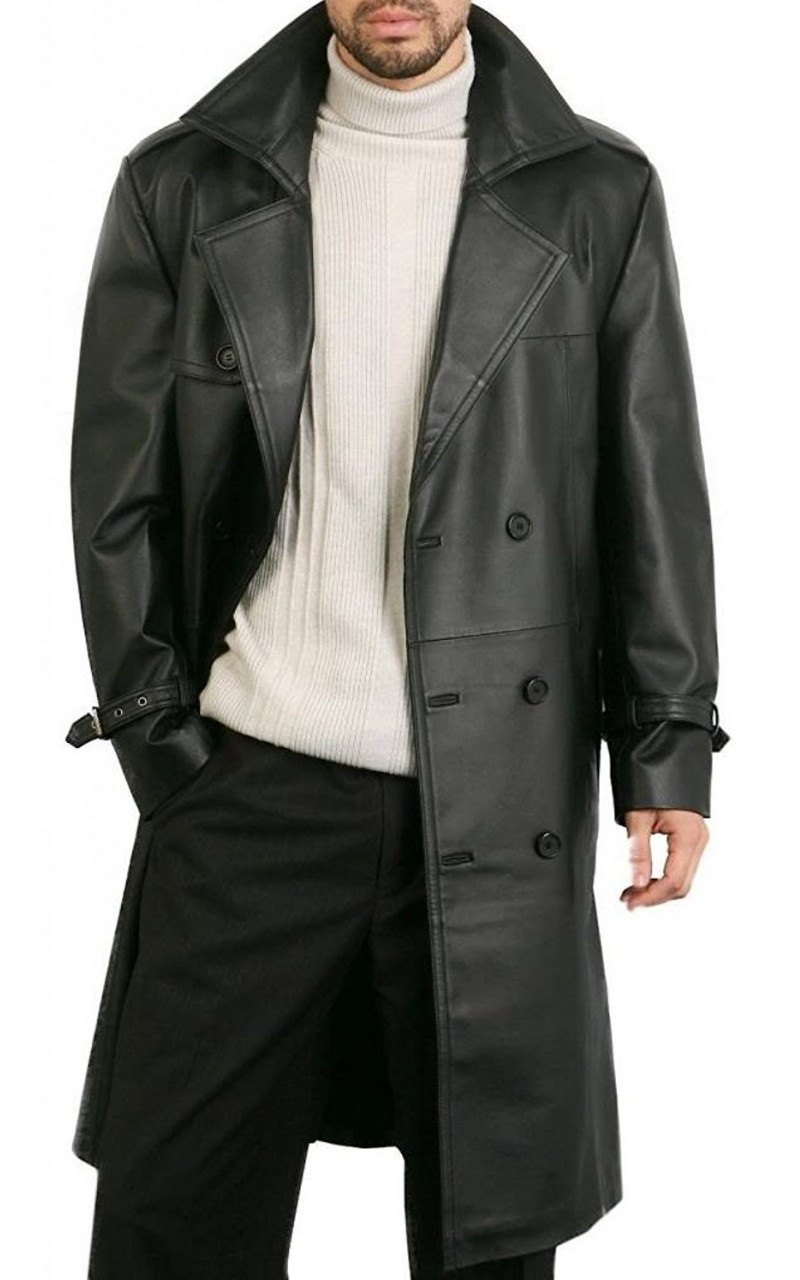 Mens Black Leather Classic Overcoat