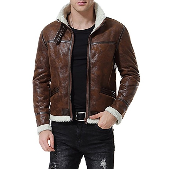 Men Bomber Motorcycle Shearling Leather Jacket