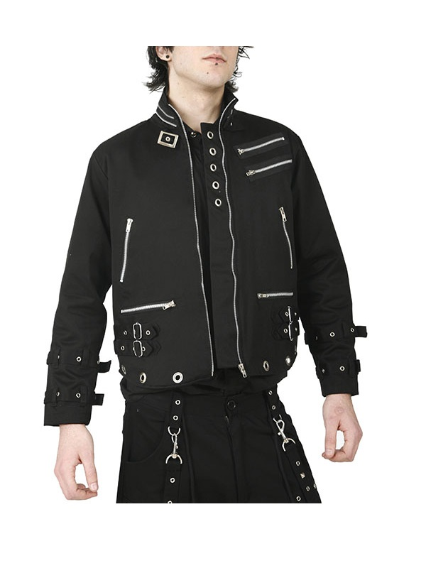Men Zipper Design Urban Gothic Dead Threads Jacket