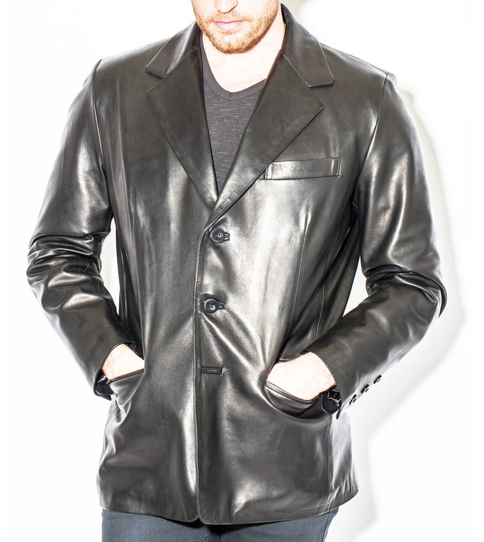 Men's 3 Button Black Leather Blazer Coat