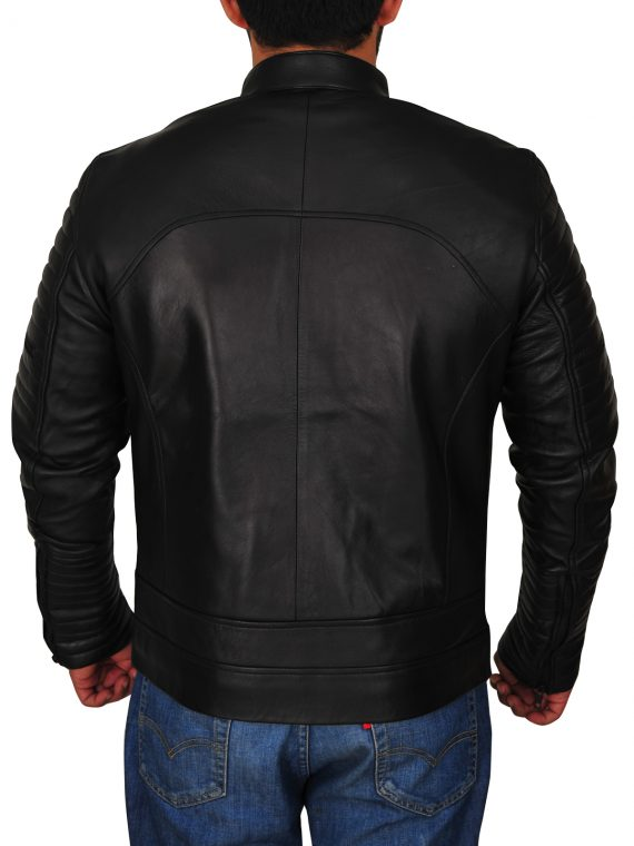 Mens Padded Sleeve Leather Jacket,
