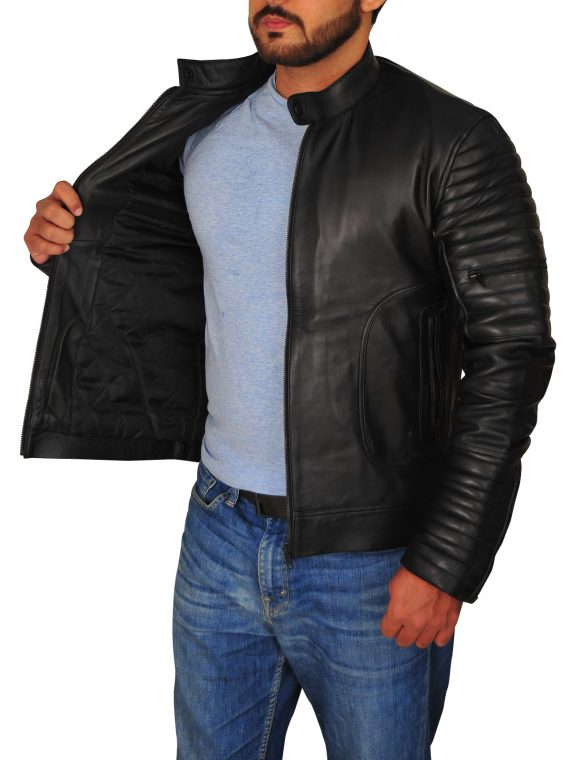 Mens Padded Sleeve Moto Biker Leather Jacket,