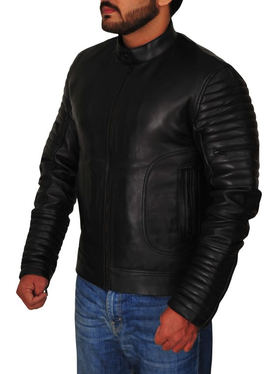 Mens Padded Sleeve Moto Black Leather Jacket,
