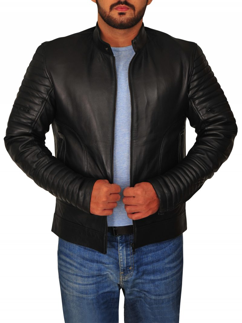 Mens Padded Sleeve Moto Leather Jacket,