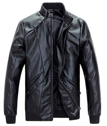 Stand Up Collar Faux Leather Jacket