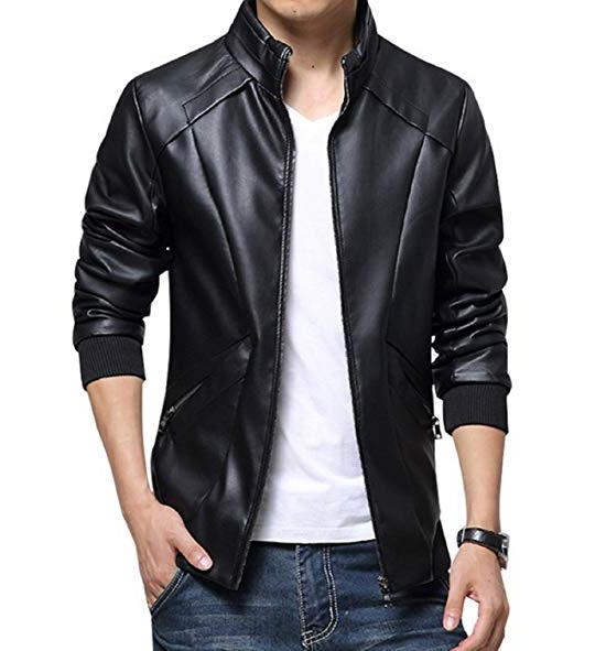 Men's Stand Up Collar Faux Leather Jacket