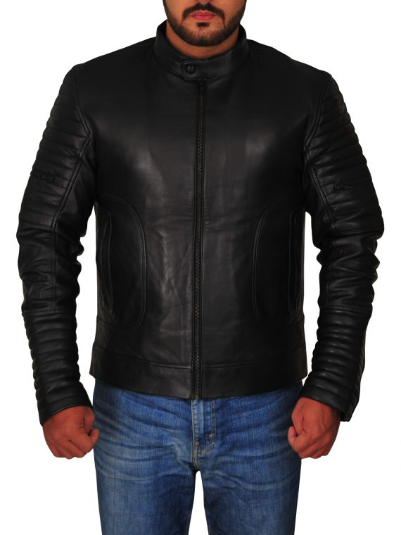 Padded Sleeve Leather Moto mens Jacket,
