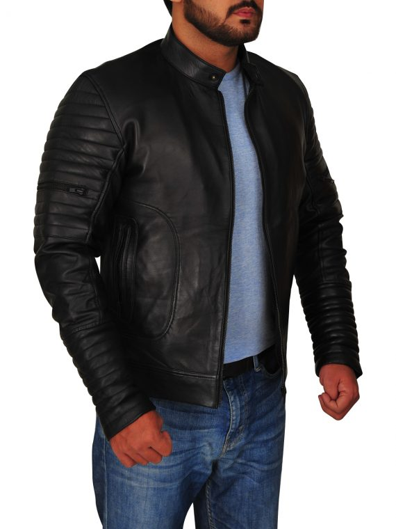Padded Sleeve Moto Leather Jacket,