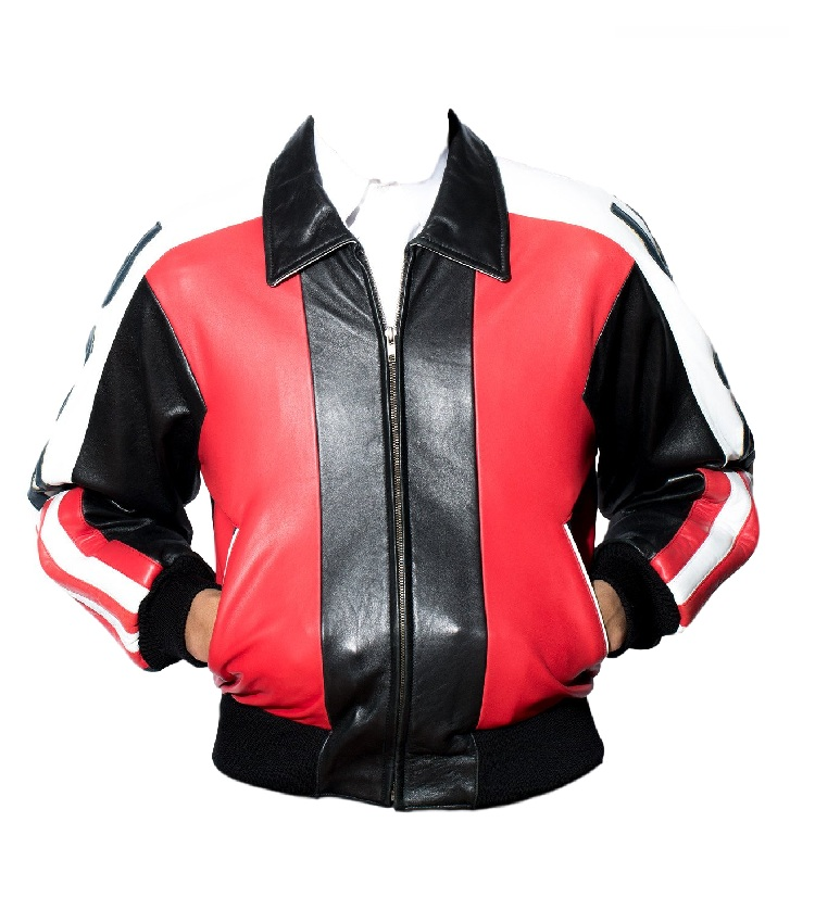 Men USA Flag Bomber Leather Jacket