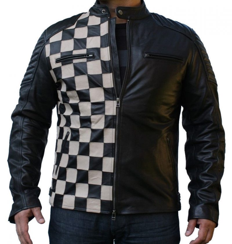 Classic Checkerboard Style Leather Jacket