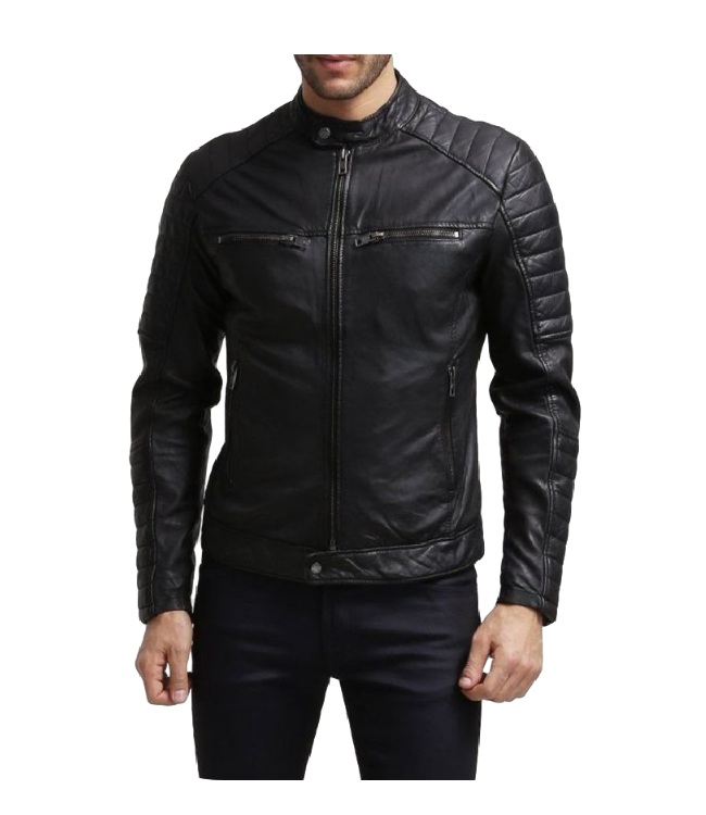 Mens Regular Fit Treated Leather Jacket