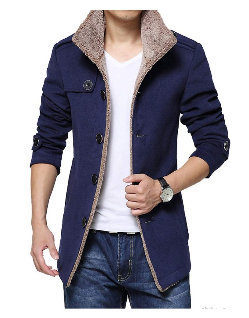 Men's Single Breasted Blue Wool Shearling Jacket