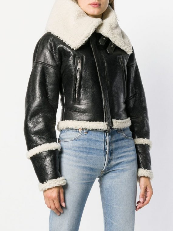 Women bomber Style Shearling leather Jacket