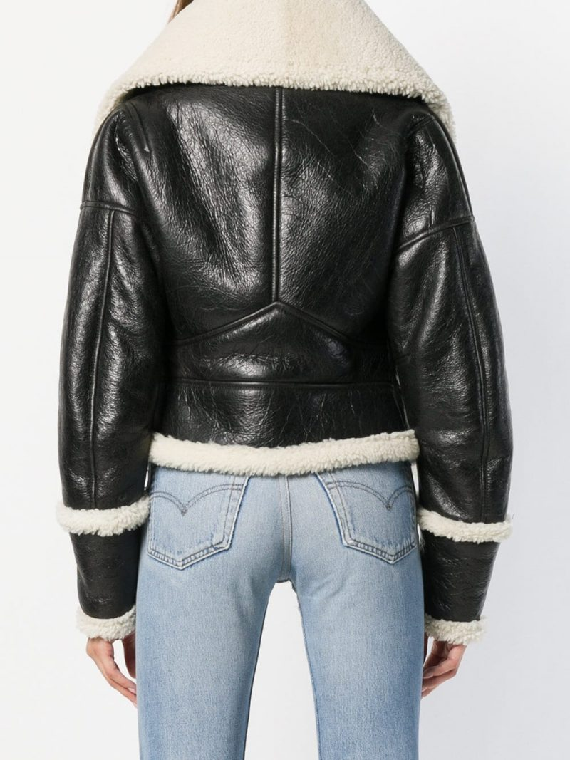 Get bomber style shearling leather jacket