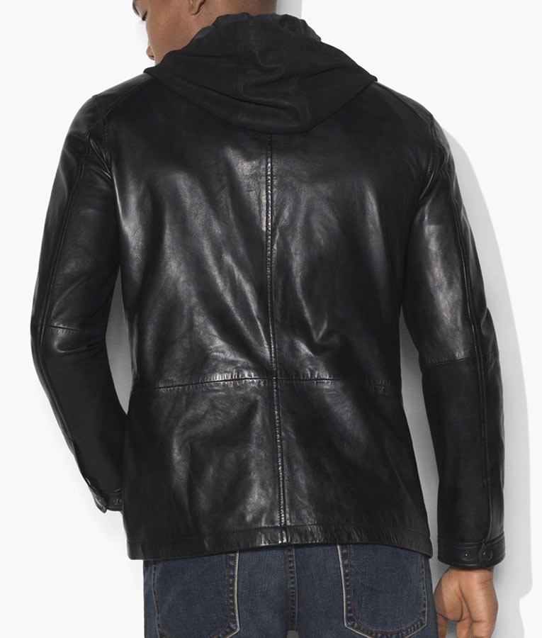 Classic Design Men Hooded Leather Jacket