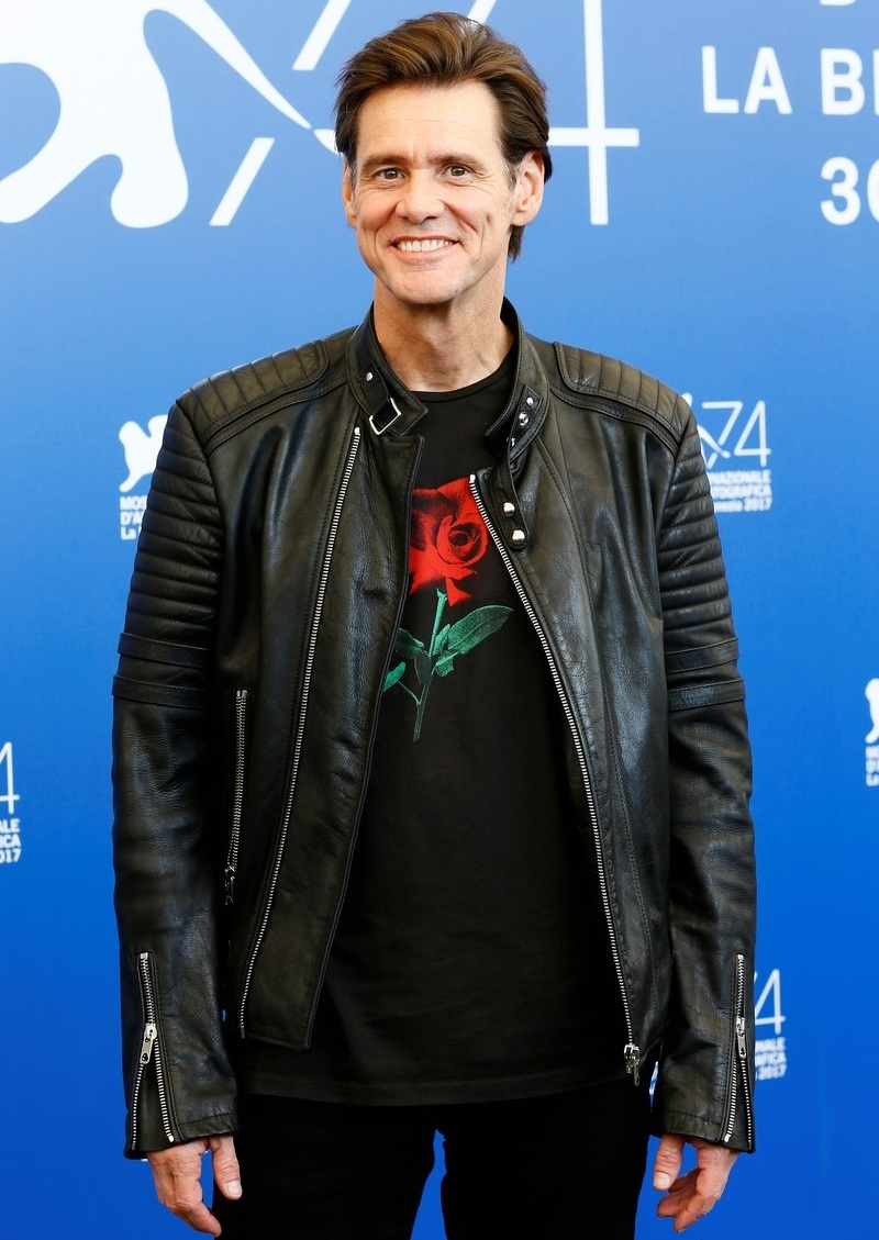 American-Canadian Actor Jim Carrey Black Leather Jacket