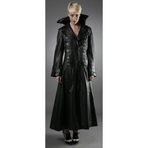 Ladies Black Full Length Gothic Trench Long Leather Coat