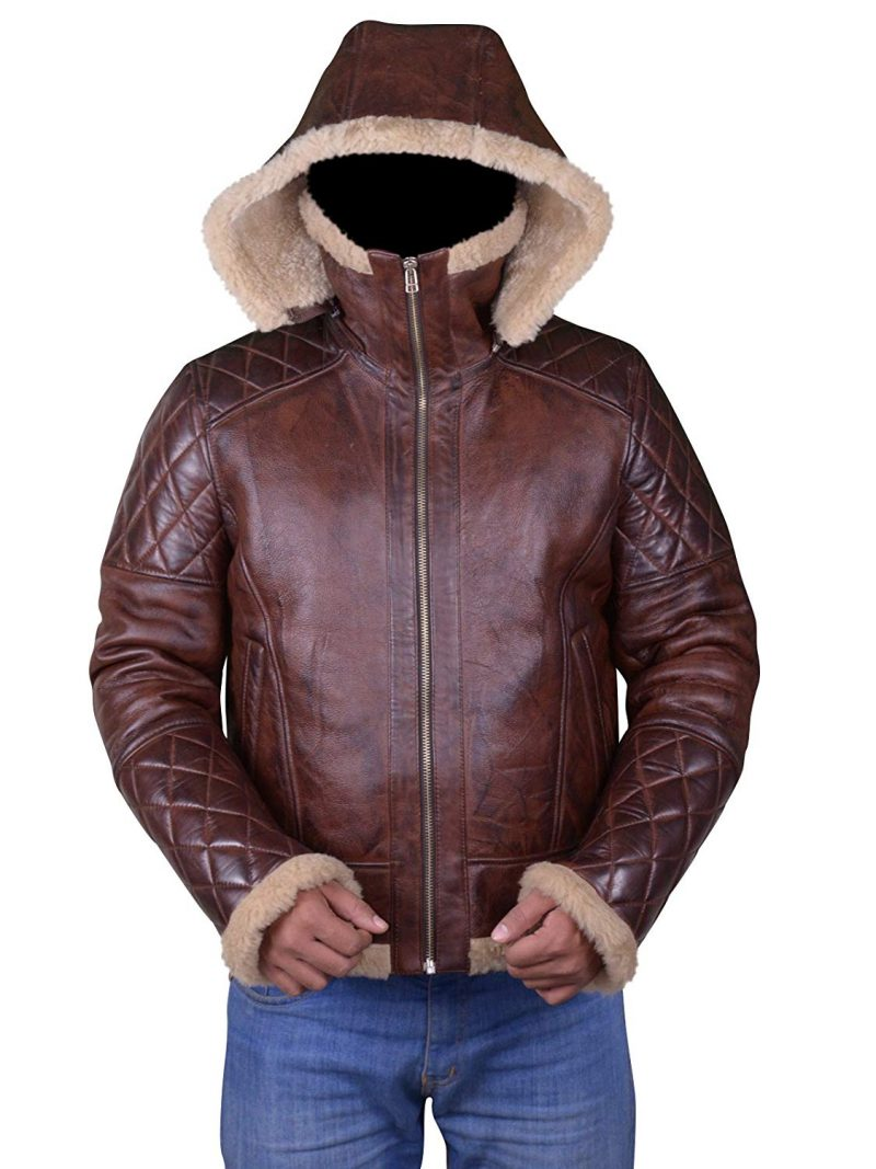 Men's Bomber Vintage Diamond Quilted Real Shearling Leather Jacket (7)