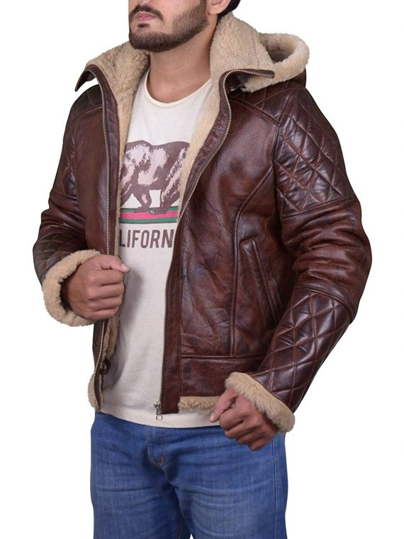 Men's B3 Bomber Vintage Diamond Quilted Real Shearling Leather Jacket (7)
