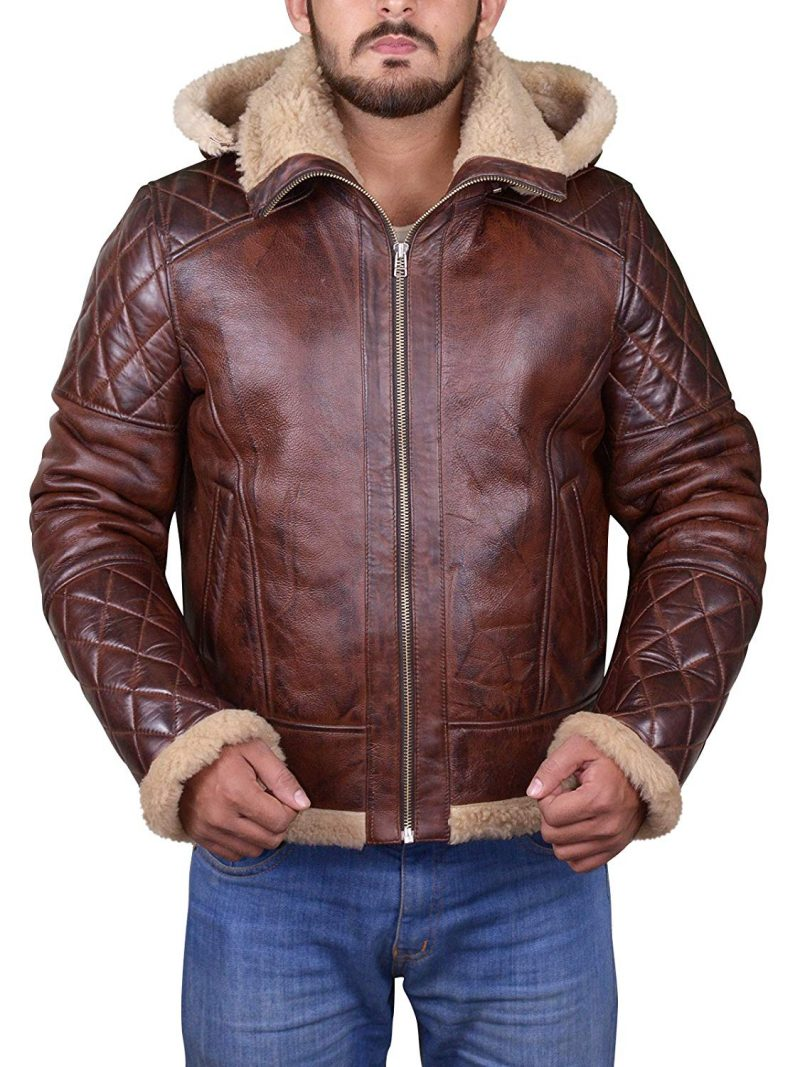 Men's B3 Bomber Vintage Diamond Quilted Real Shearling Leather Jacket