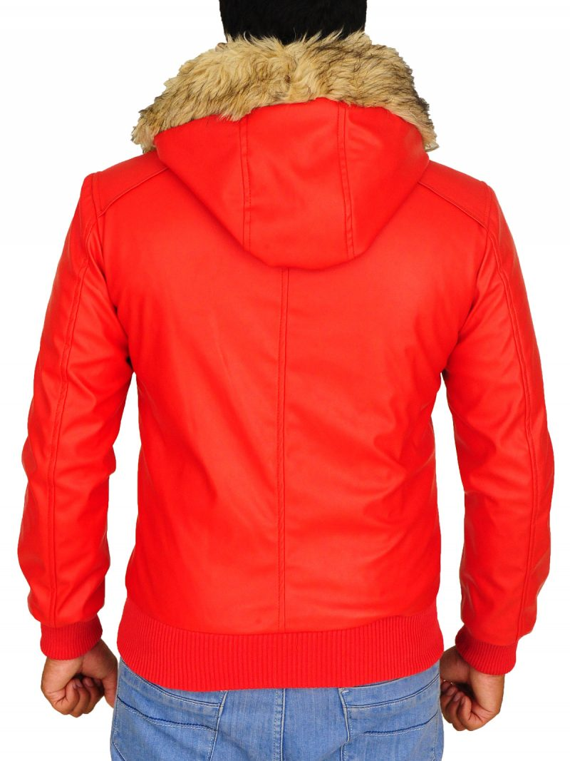 Classic Style Red Hooded Leather Jacket