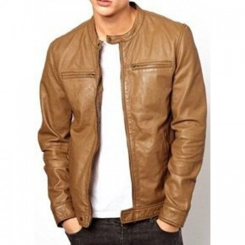 Men Light Brown Fashion Leather Jacket