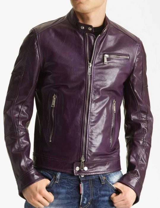 Men's Classic Casual Style Motorcycle Purple Jacket