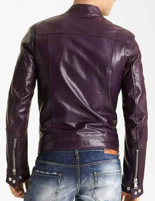 Classic Casual Style Purple leather Jacket