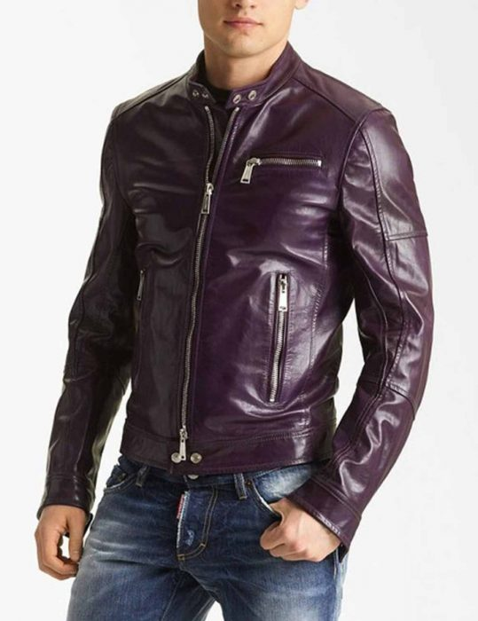 Men's Classic Casual Style Purple leather Jacket