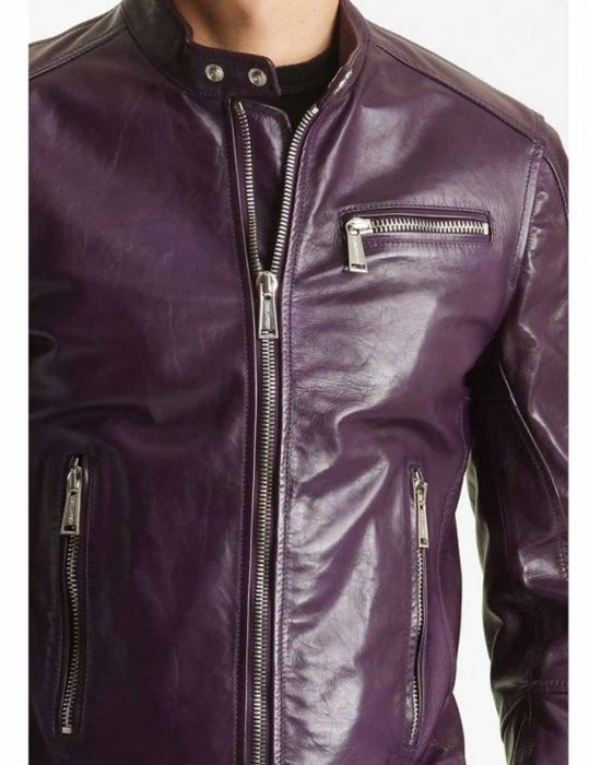 Men's Classic Casual Motorcycle Purple leather Jacket