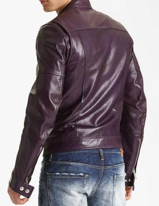 Men's Classic Casual Style Motorcycle Purple leather Jacket