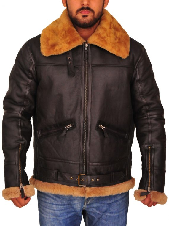 Mens RAF B3 Bomber Shearling Leather Jacket