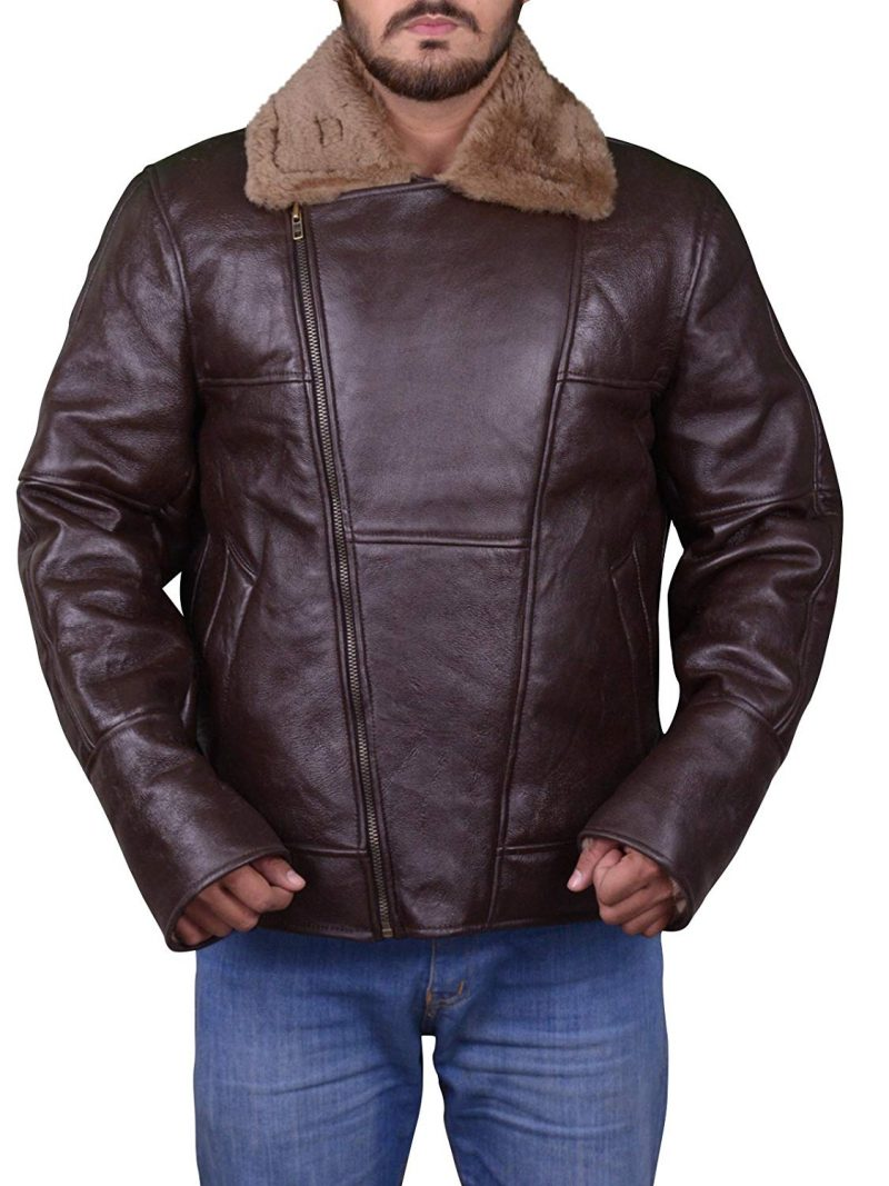 Men's B3 Brown Ginger WW2 Bomber Leather Flying Sheepskin Leather Jacket