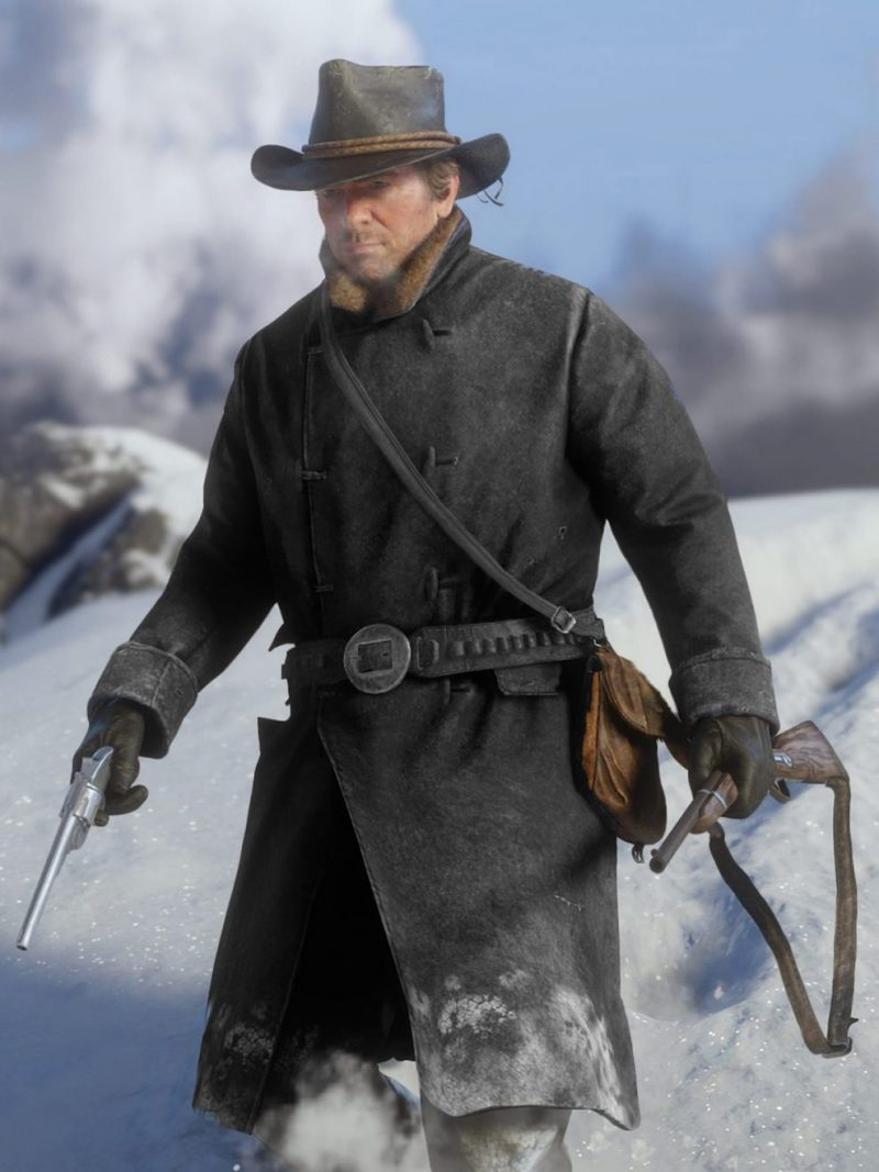 Red Dead Redemption 2 Game Arthur Morgan Black Coat,