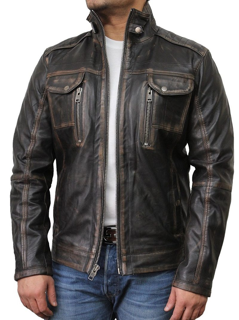 Men's Classic Rubbuff Brown Distressed Leather jacket