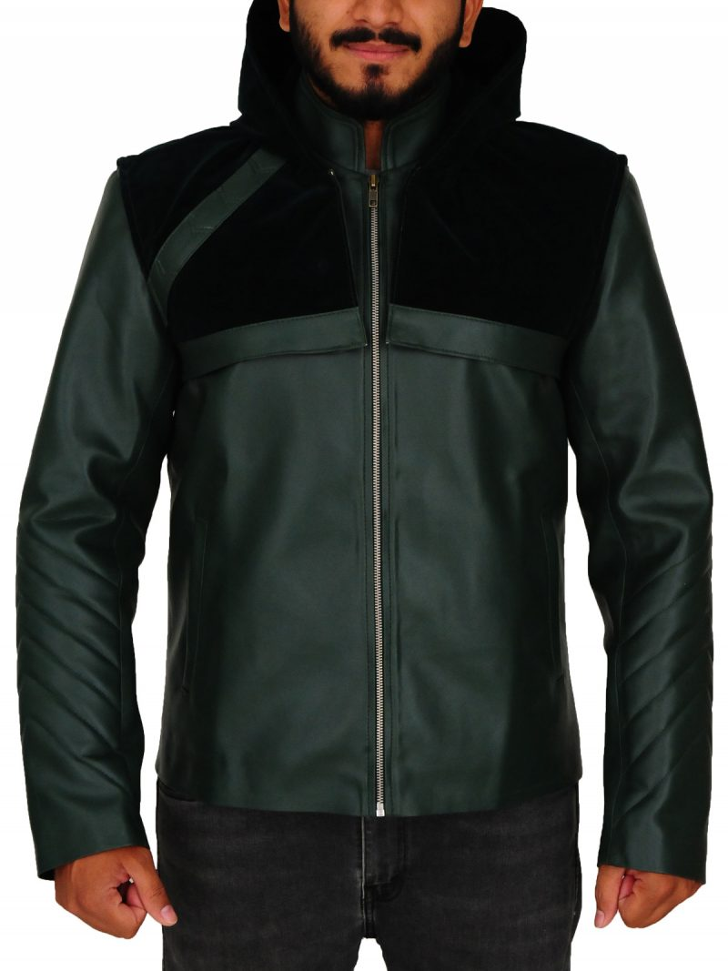 TV Series Arrow Oliver Queen Stephen Amell Leather Hoodie Jacket