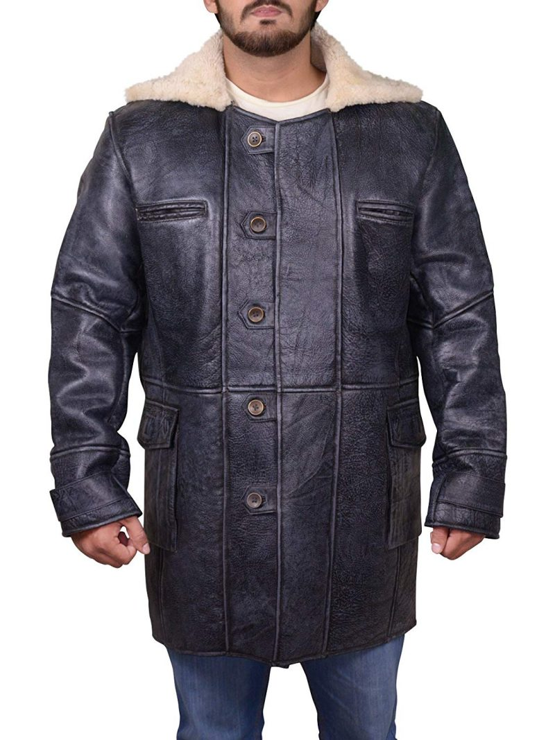 Tom Hardy Bane Dark Knight Genuine Sheepskin Shearling Leather Coat