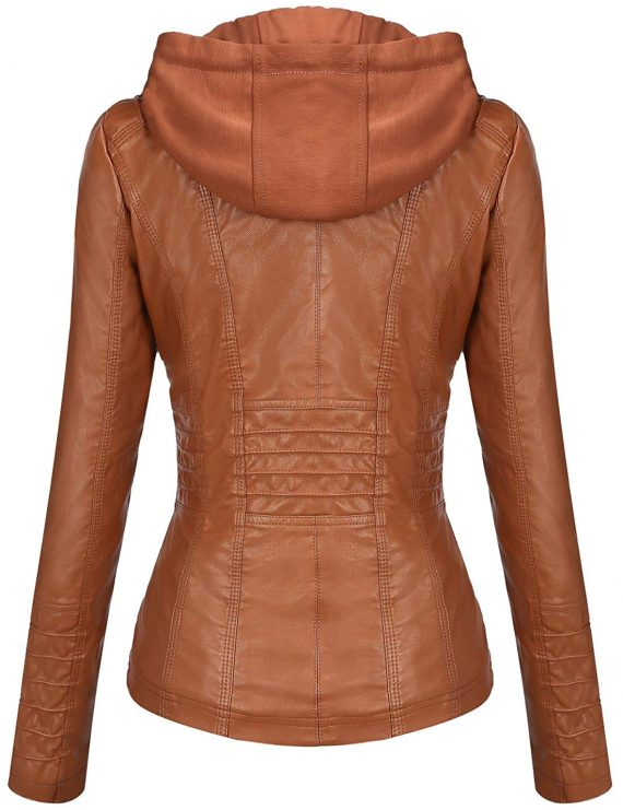 Removable Hooded Leather Jacket for Women's