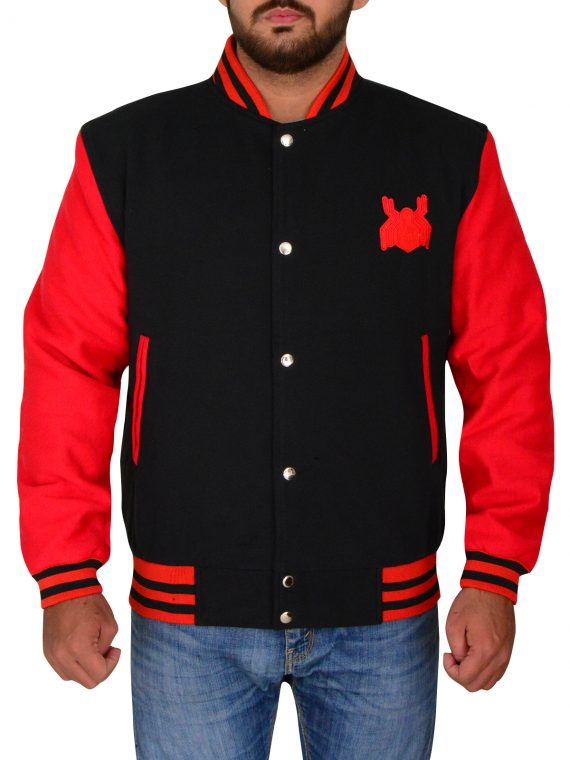 Logo Superhero Jacket, Avengers Spider Logo, Red Varsity Jacket,