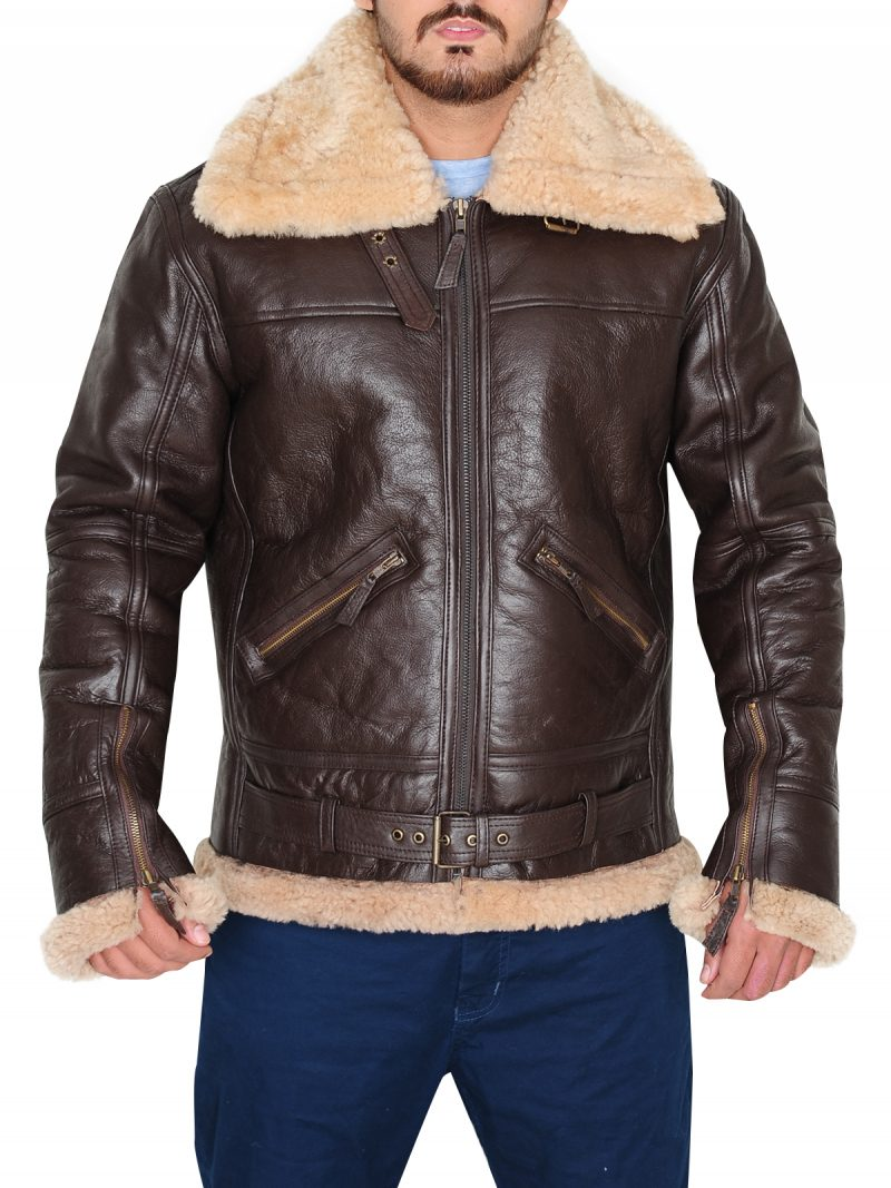 B3 Men Brown Jacket, Brown Shearling Bomber Jacket, B3 Jacket,