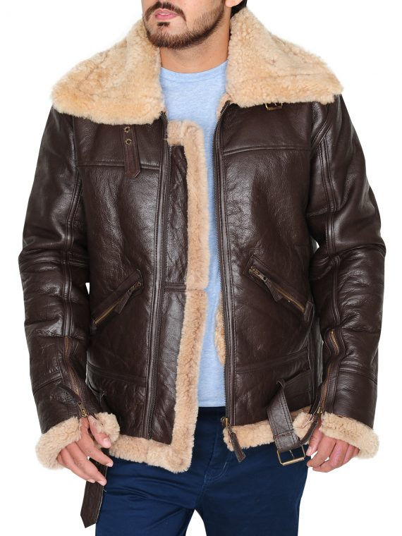 B3 Men Brown Jacket, Brown Shearling Bomber Leather Jacket,